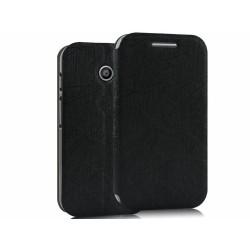 Funda Soporte Piel Texturizada Negra para Motorola Moto E