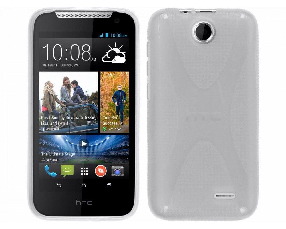 Funda Gel Tpu HTC Desire 310 Modelo X Line Color Transparente