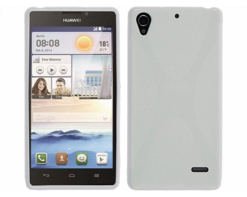 Funda Gel Tpu Huawei Ascend G630 Modelo X Line Color Blanca