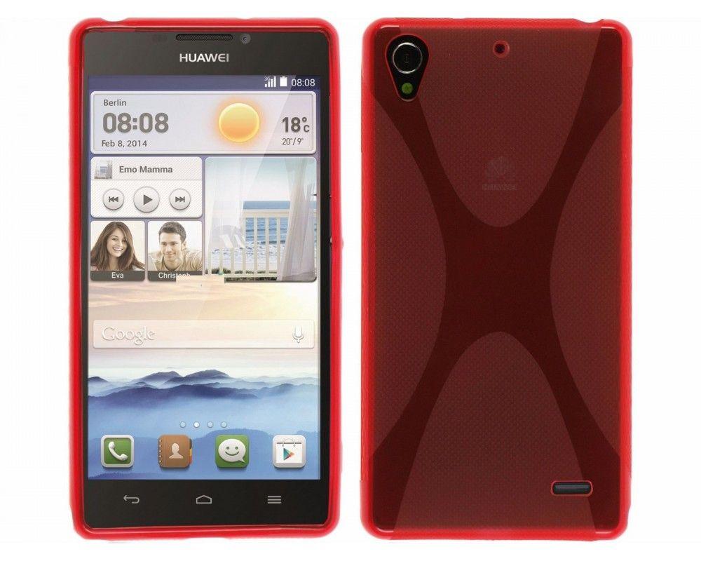 Funda Gel Tpu Huawei Ascend G630 Modelo X Line Color Roja