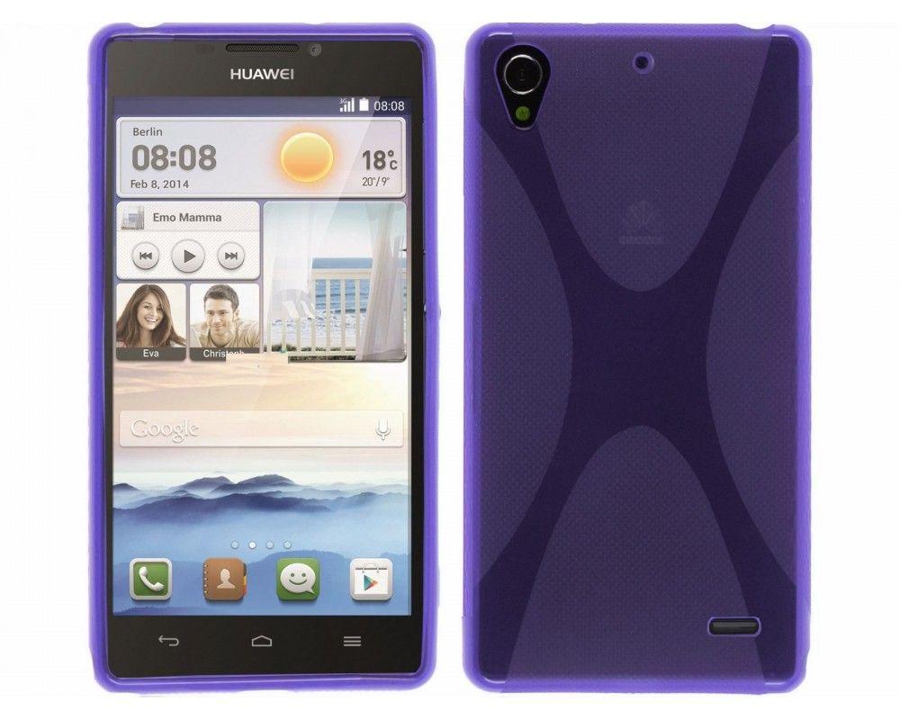Funda Gel Tpu Huawei Ascend G630 Modelo X Line Color Morada