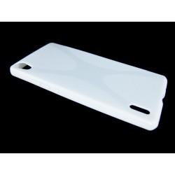 Funda Gel Tpu Huawei Ascend P7 Modelo X Line Color Blanca