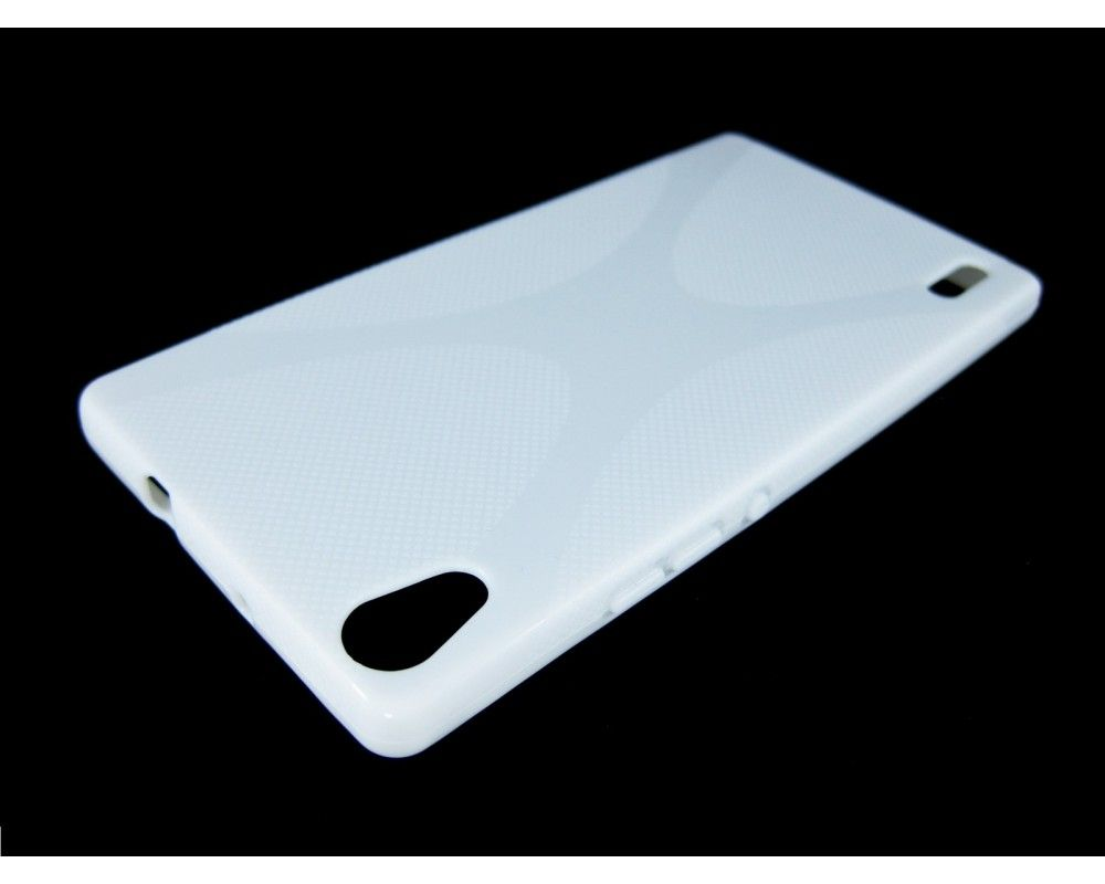 Funda Gel Tpu Huawei Ascend P7 Modelo X Line Color Blanca