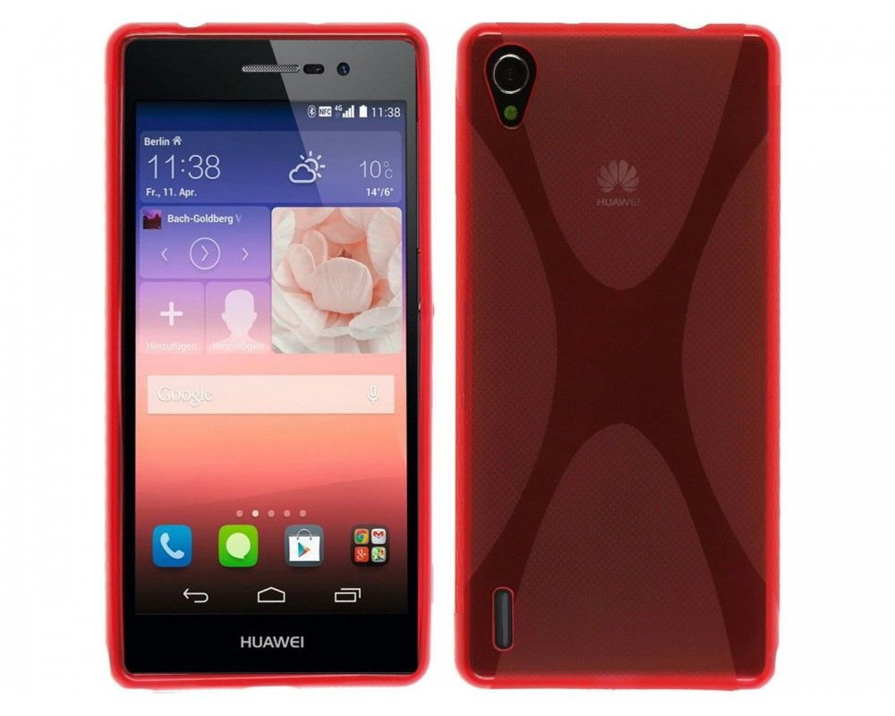 Funda Gel Tpu Huawei Ascend P7 Modelo X Line Color Roja