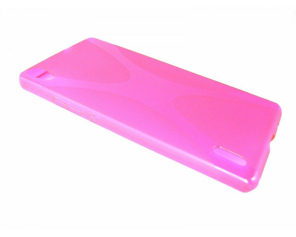 Funda Gel Tpu Huawei Ascend P7 Modelo X Line Color Rosa