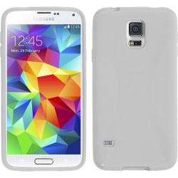 Funda Gel Tpu Samsung Galaxy S5 Mini G800F  X Line Color Blanca