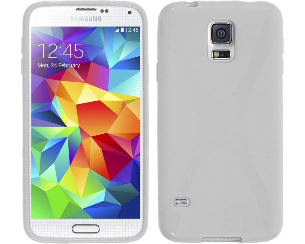 Funda Gel Tpu Samsung Galaxy S5 Mini G800F  X Line Color Blanca