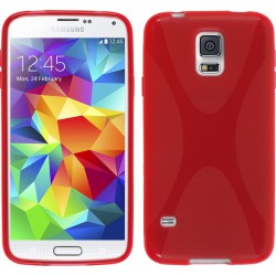 Funda Gel Tpu Samsung Galaxy S5 Mini G800F  X Line Color Roja