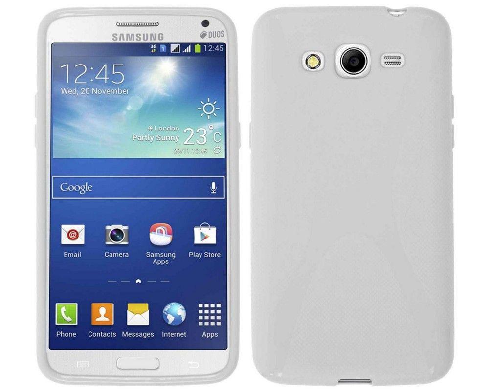 Funda Gel Tpu  Samsung Galaxy Core 4G G386F X Line Color Blanca
