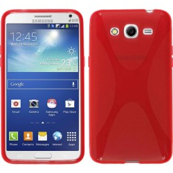 Funda Gel Tpu  Samsung Galaxy Core 4G G386F X Line Color Roja