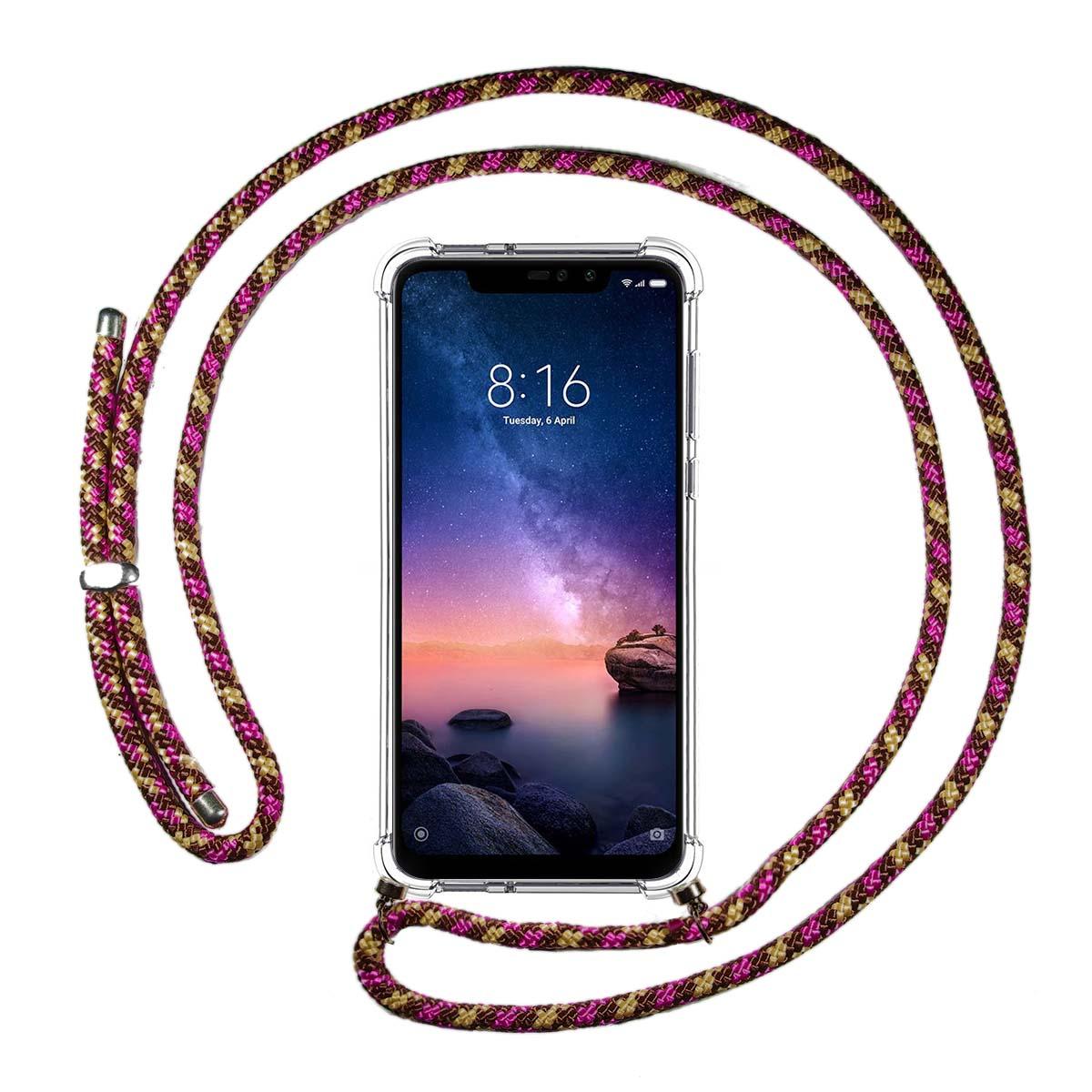 Bigcousin Funda con Cuerda Compatible con Xiaomi Redmi Note 6 Pro,Transparente de TPU con Ajustable Collar Cadena Cord/ón,Gris